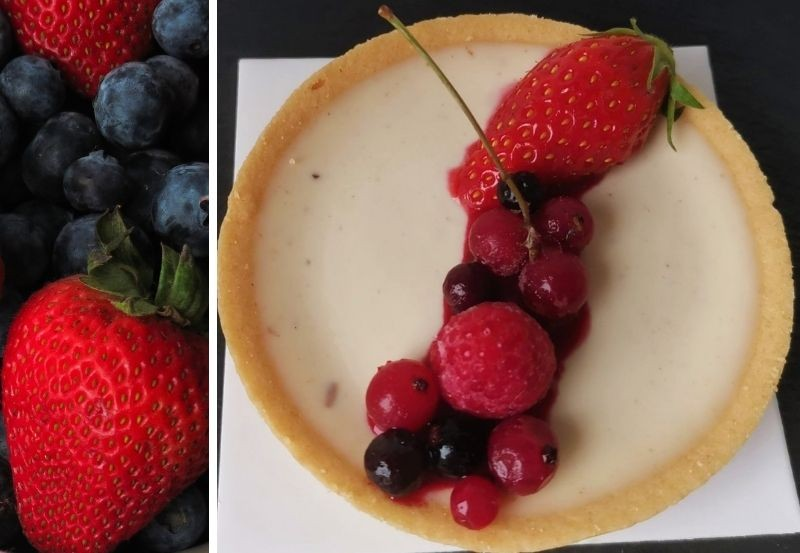 Tartelette sablée panna cotta fruits rouge