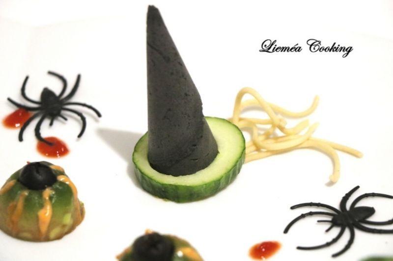 Chapeau de sorcière à l'avocat et aux crevettes