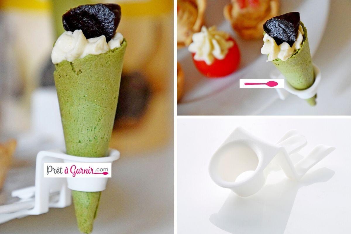 Mini cône épinard à la crème d'artichaud